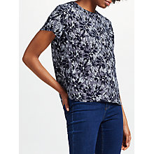 Buy Collection WEEKEND by John Lewis Japanese Floral Print Short Sleeve Top, Navy Online at johnlewis.com