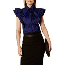 Buy Karen Millen Super Frill Cotton Shirt, Navy Online at johnlewis.com