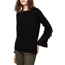 Buy Mint Velvet Woven Ruffle Sleeve Knit, Black Online at johnlewis.com