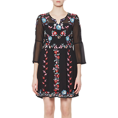 French Connection Edith Floral Bell Sleeve Flared Dress, Black/Multi