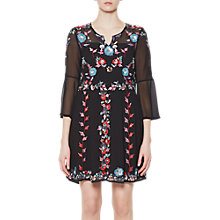 Buy French Connection Edith Floral Bell Sleeve Flared Dress, Black/Multi Online at johnlewis.com