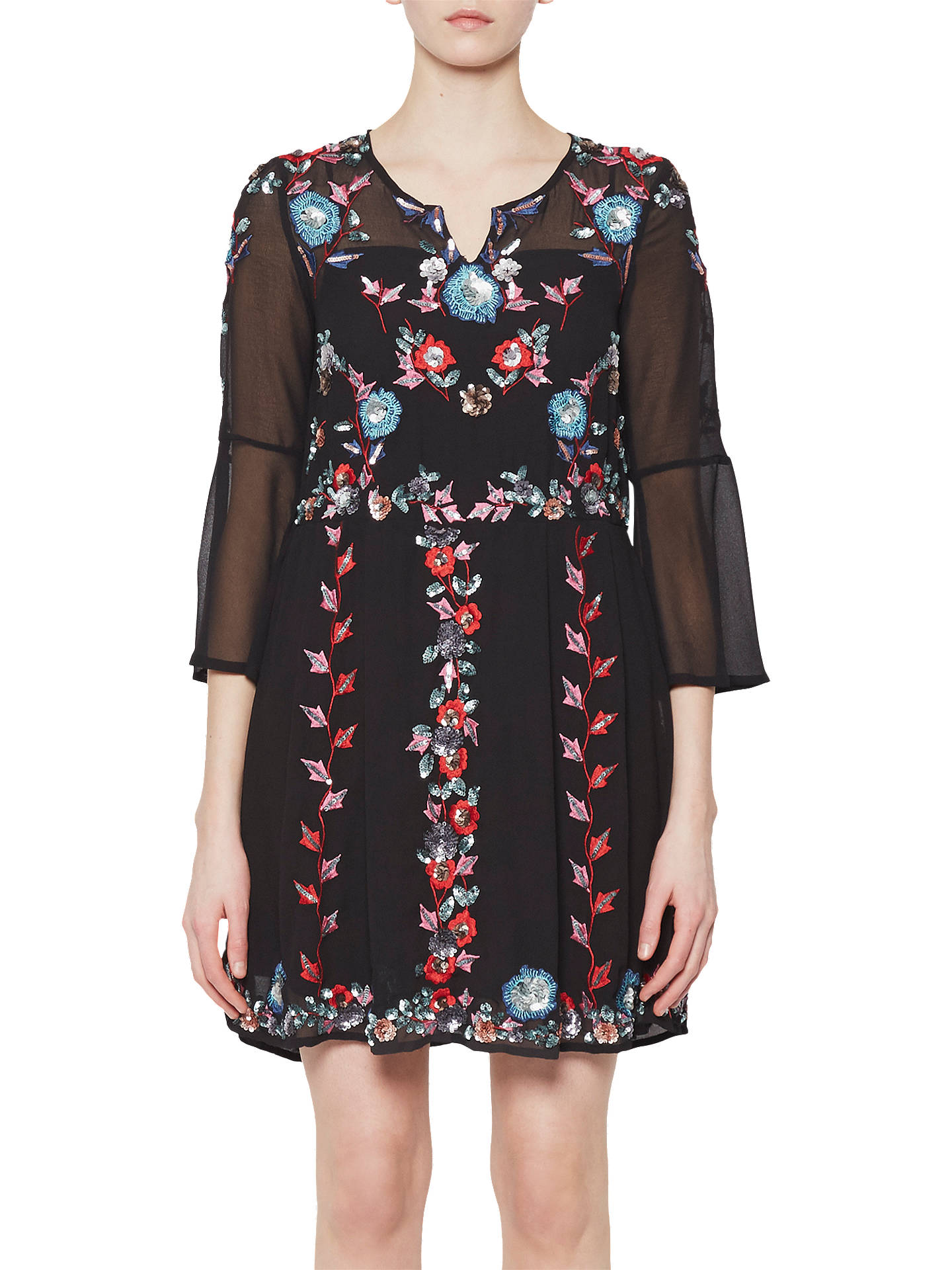9c9b3a618de Buy French Connection Edith Floral Bell Sleeve Flared Dress , Black/Multi,  6 Online ...