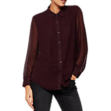 Buy Mint Velvet Bordeaux Dobby Shirt, Dark Red Online at johnlewis.com