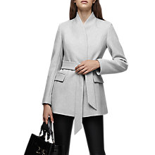 Buy Reiss Neya Wool Blend Wrap Coat, Grey Melange Online at johnlewis.com