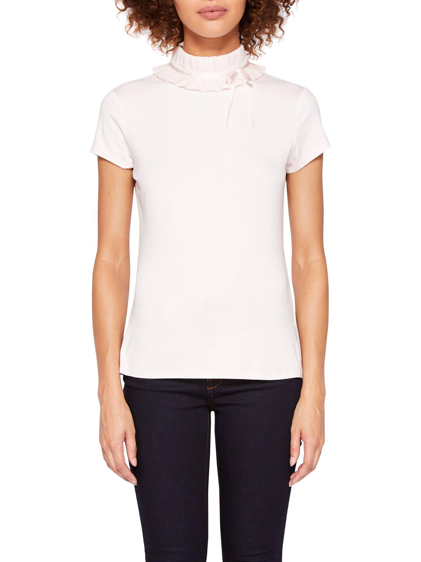 b201155bc654 Buy Ted Baker Ruffle Neck T-Shirt, Nude Pink, XL Online at johnlewis ...
