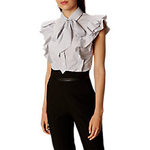 Buy Karen Millen Super Frill Cotton Shirt, Black/White Online at johnlewis.com