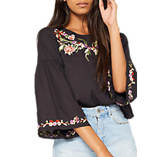 Buy Miss Selfridge Petite Embroidered Blouse, Black Online at johnlewis.com
