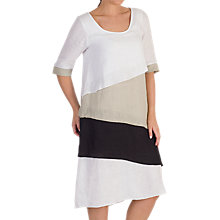 Buy Chesca Colour Block Linen Dress, Neutral/Multi Online at johnlewis.com