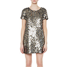 Buy French Connection Sparkle Short Sleeve Dress, Moon Rock Online at johnlewis.com
