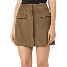 Buy Reiss Marina A Line Suede Mini Skirt, Khaki Online at johnlewis.com