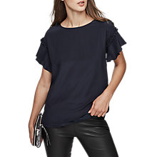 Buy Reiss Ruffle Sleeve Silk Front T-shirt, Night Navy Online at johnlewis.com
