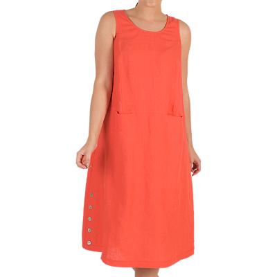 Image of Chesca Button Trim Linen Dress, Orange