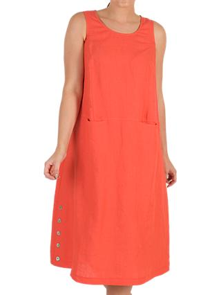 Chesca Button Trim Linen Dress, Orange