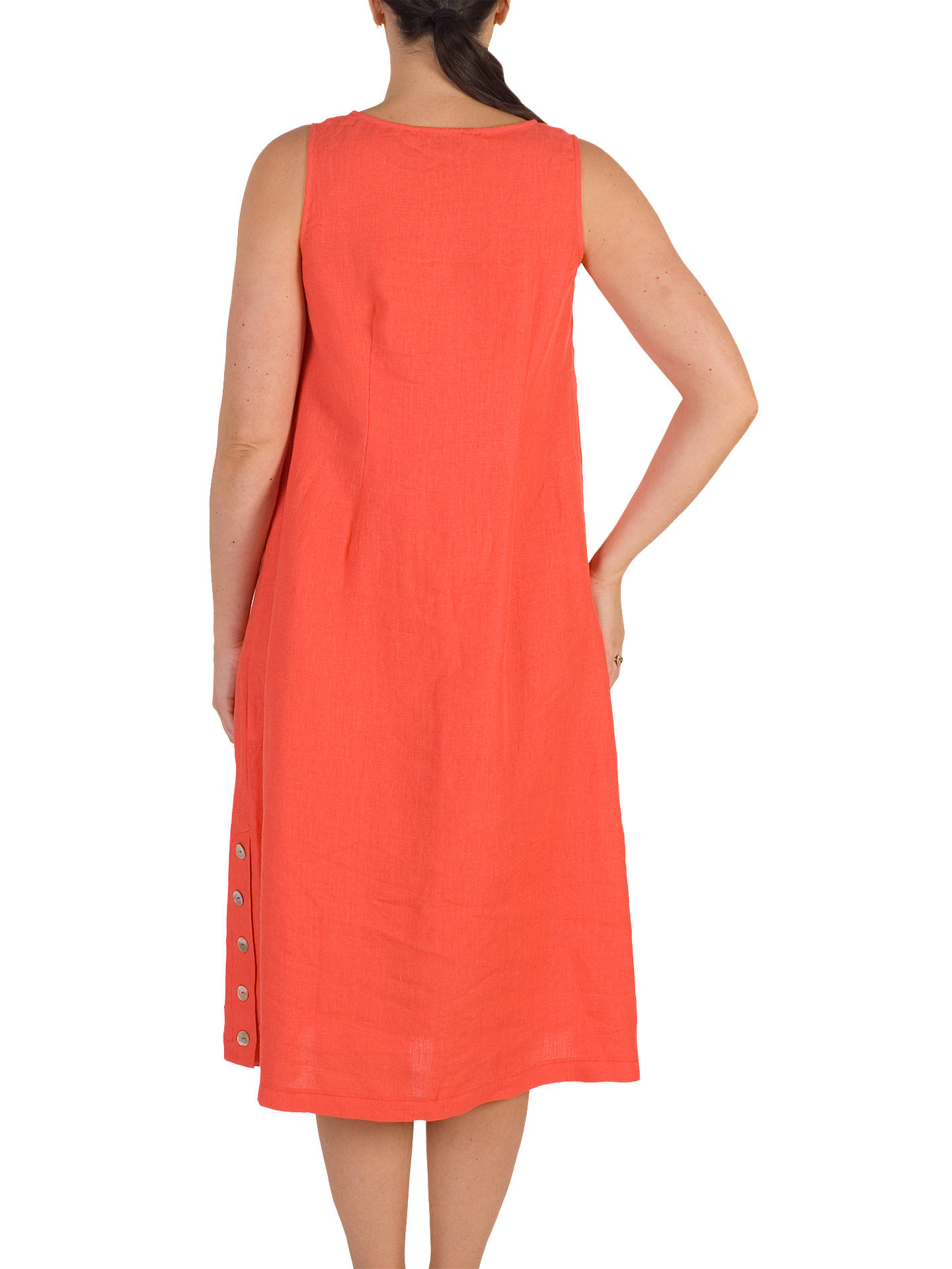 BuyChesca Button Trim Linen Dress, Orange, 14 Online at johnlewis.com