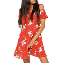 Buy Miss Selfridge Petite Bardot Print Dress, Red Online at johnlewis.com