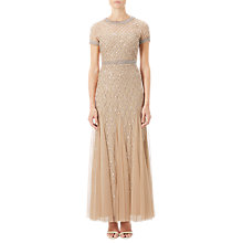 Buy Adrianna Papell Petite Short Sleeved Beaded Godet Gown, Champagne Online at johnlewis.com