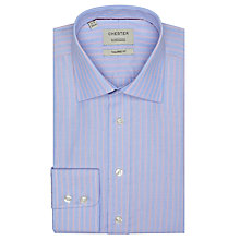 Buy Chester by Chester Barrie Tailored Stripe Long Sleeve Shirt, Blue/Burgundy Online at johnlewis.com