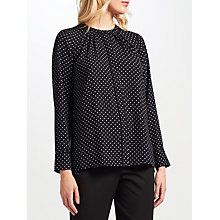 Buy John Lewis Pindot Lucy Blouse, Black/White Online at johnlewis.com