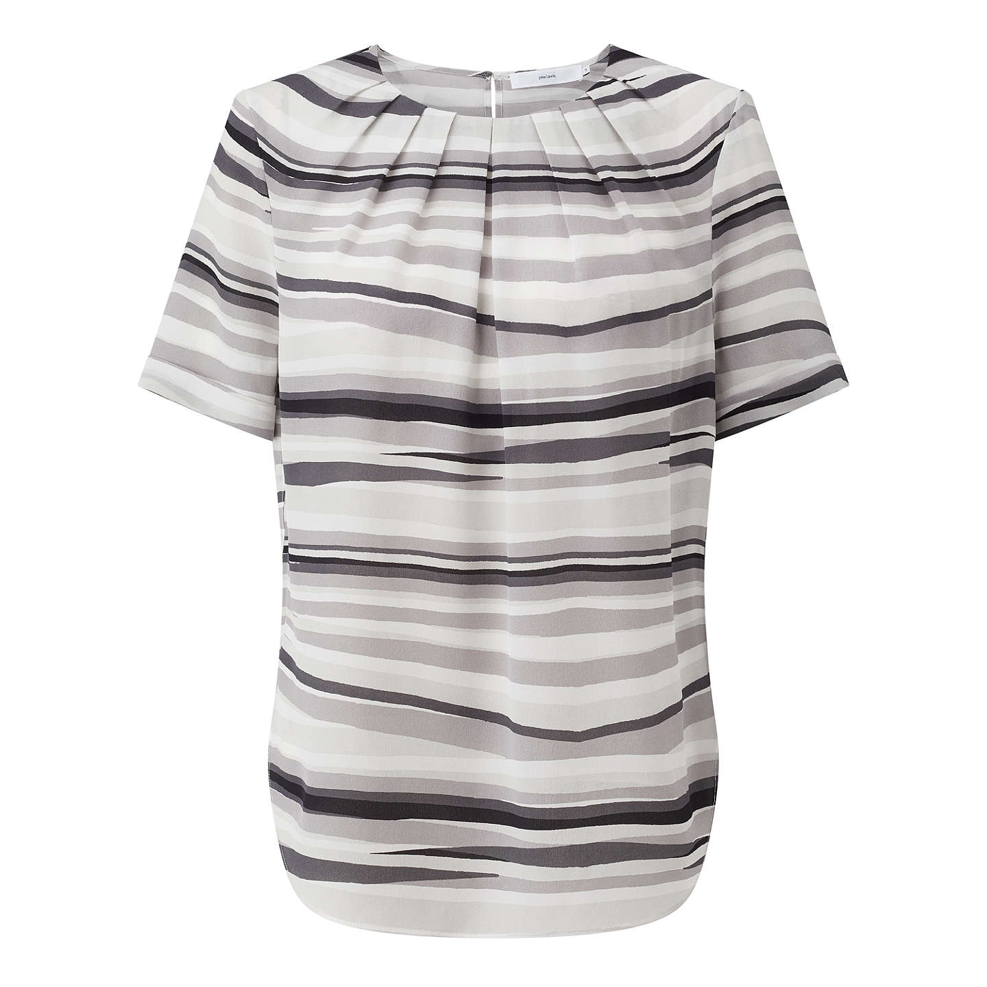 BuyJohn Lewis Darcie Wave Stripe Silk Blouse, Grey/Multi, 8 Online at johnlewis.com