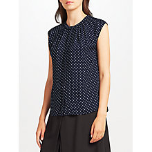 Buy John Lewis Lucienne Pindot Blouse, Navy/White Online at johnlewis.com