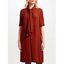 Buy John Lewis Libby Tie Neck Dress, Deep Orange Online at johnlewis.com