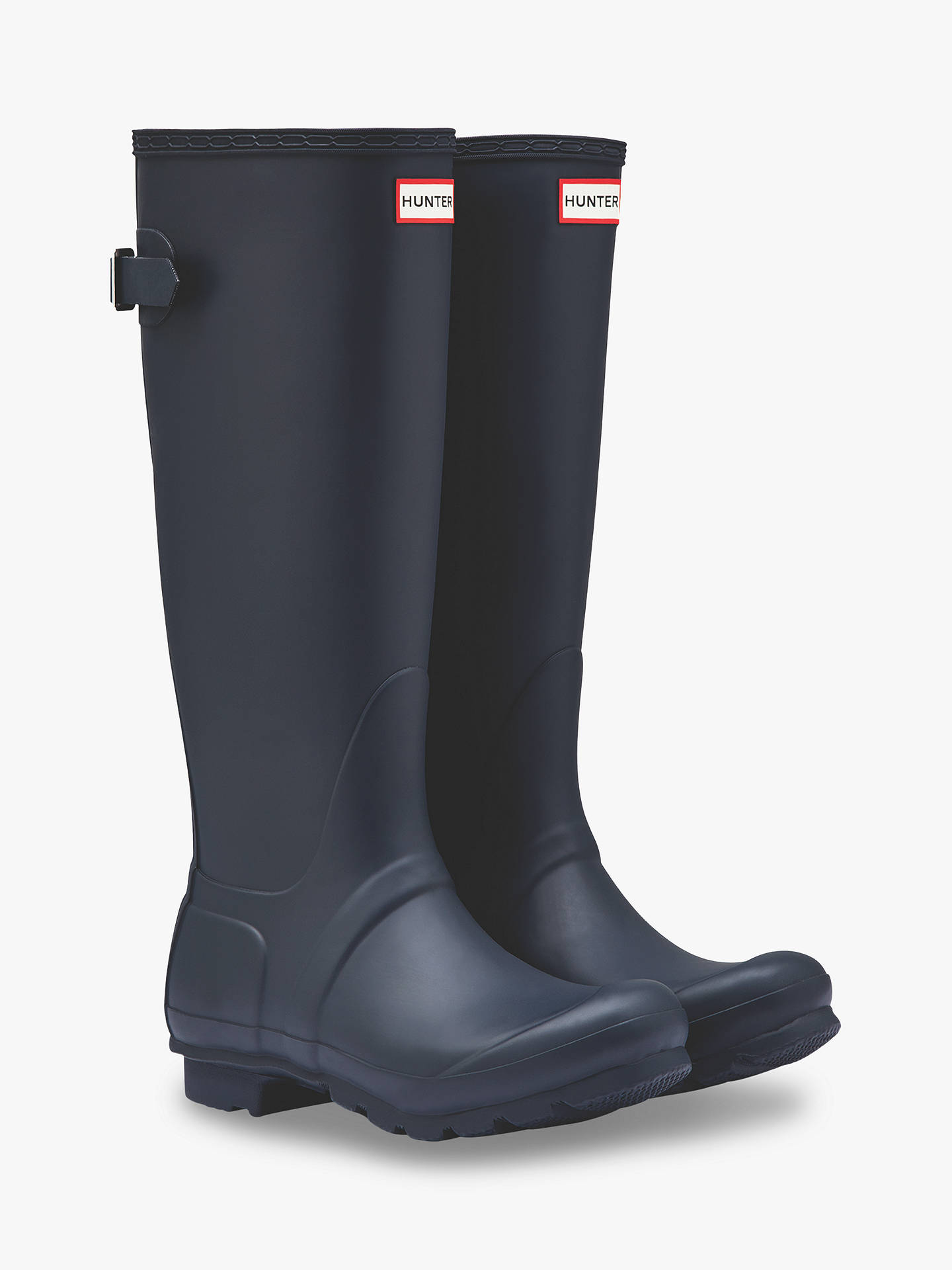 BuyHunter Women's Original Waterproof Tall Adjustable Wellington Boots, Navy, 4 Online at johnlewis.com