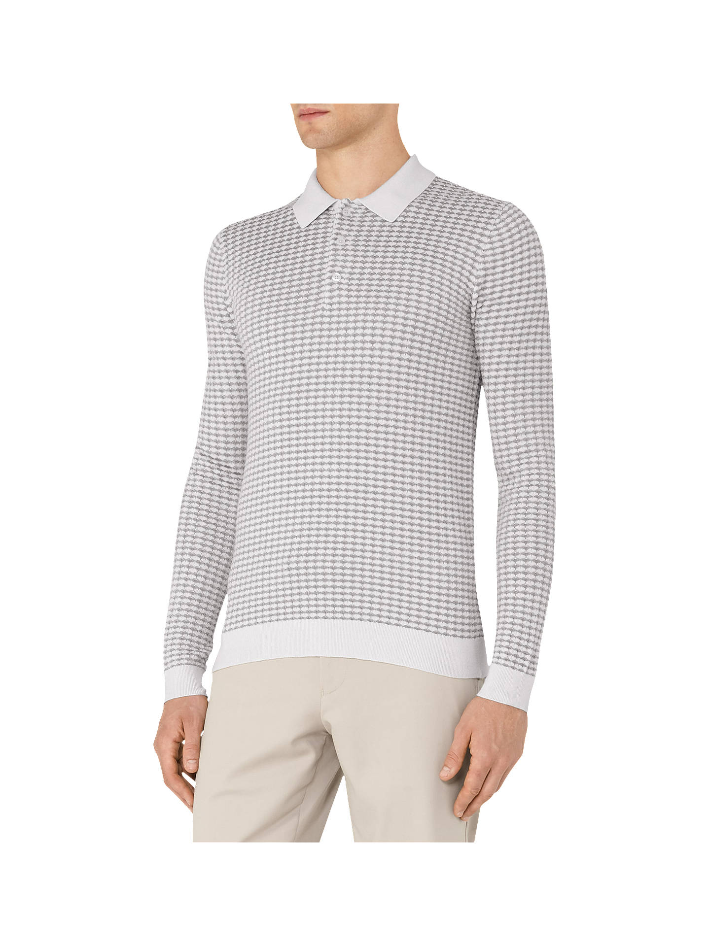df833fbf1 Buy Reiss Mountain Textured Weave Long Sleeve Polo Shirt, Grey, XS Online  at johnlewis ...