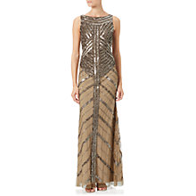 Buy Adrianna Papell Long Beaded Dress, Antique Copper Online at johnlewis.com