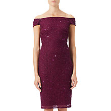Buy Adrianna Papell Beaded Sheath Dress, Black Cherry Online at johnlewis.com