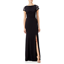 Buy Adrianna Papell Side Pleat Crepe Knit Gown, Black Online at johnlewis.com