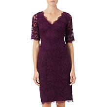 Buy Adrianna Papell Rose Lace Sheath Dress, Mulberry Online at johnlewis.com
