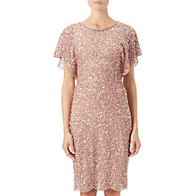 Buy Adrianna Papell Flutter Sleeve Beaded Dress, Rose Gold Online at johnlewis.com