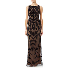 Buy Adrianna Papell Beaded Long Dress, Black/Nude Online at johnlewis.com
