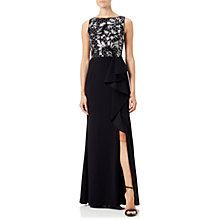 Buy Adrianna Papell Embroidered Crepe Dress, Black/Ivory Online at johnlewis.com