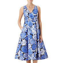 Buy Adrianna Papell Floral Jacquard Fit and Flare Dress, Blue Online at johnlewis.com