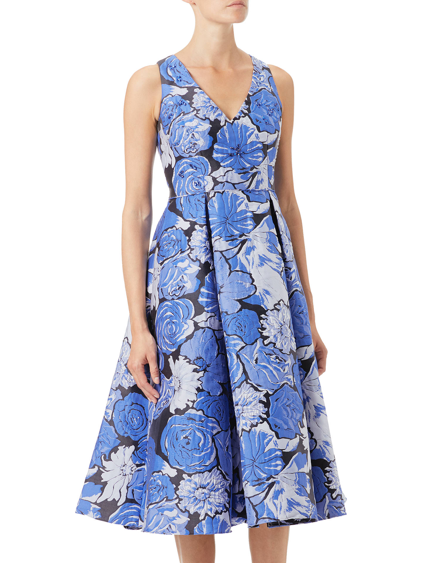 Adrianna Papell Floral Jacquard Fit And Flare Dress Blue
