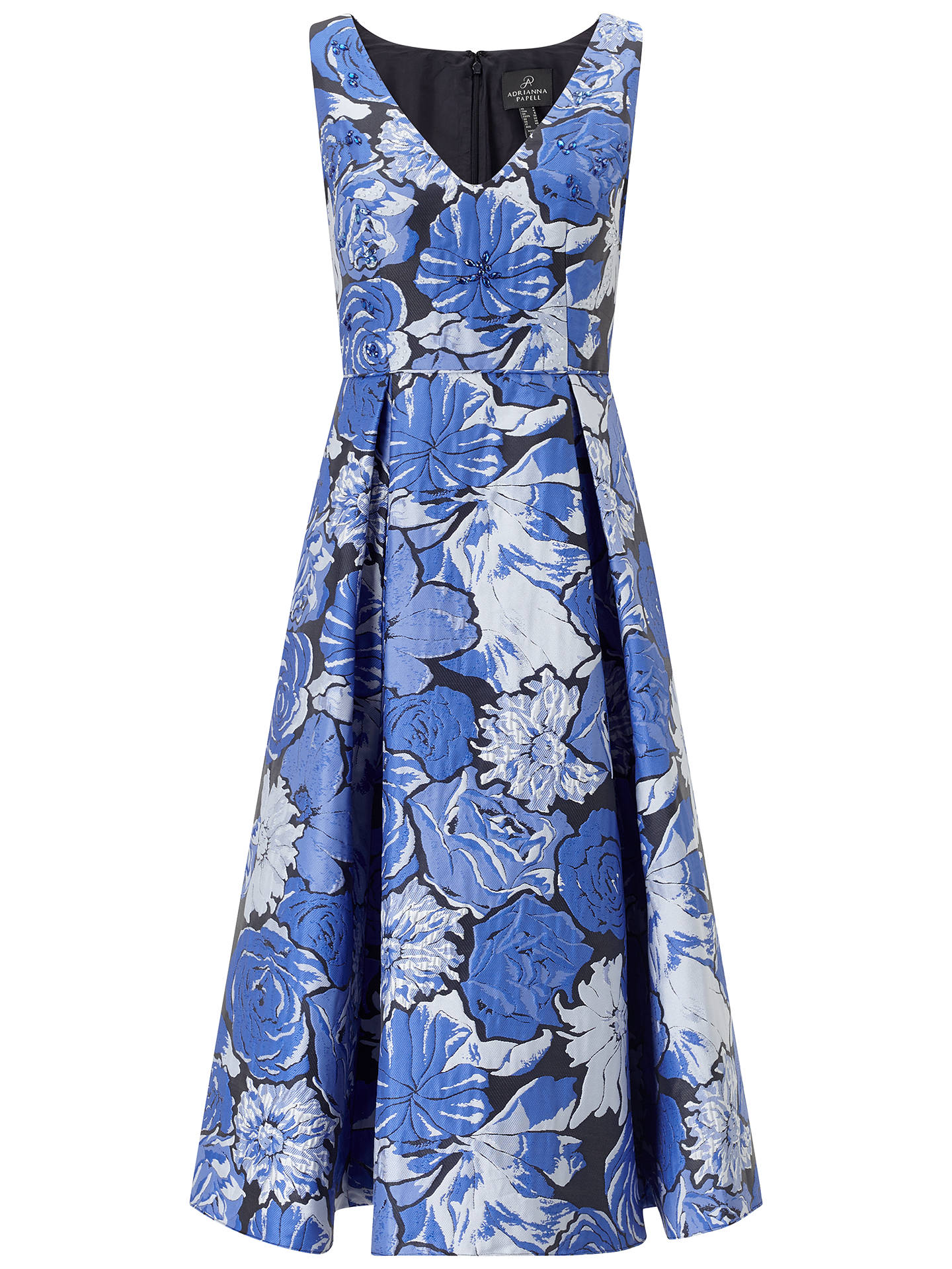 Buy Adrianna Papell Floral Jacquard Fit and Flare Dress, Blue/Multi, 8 Online at johnlewis.com