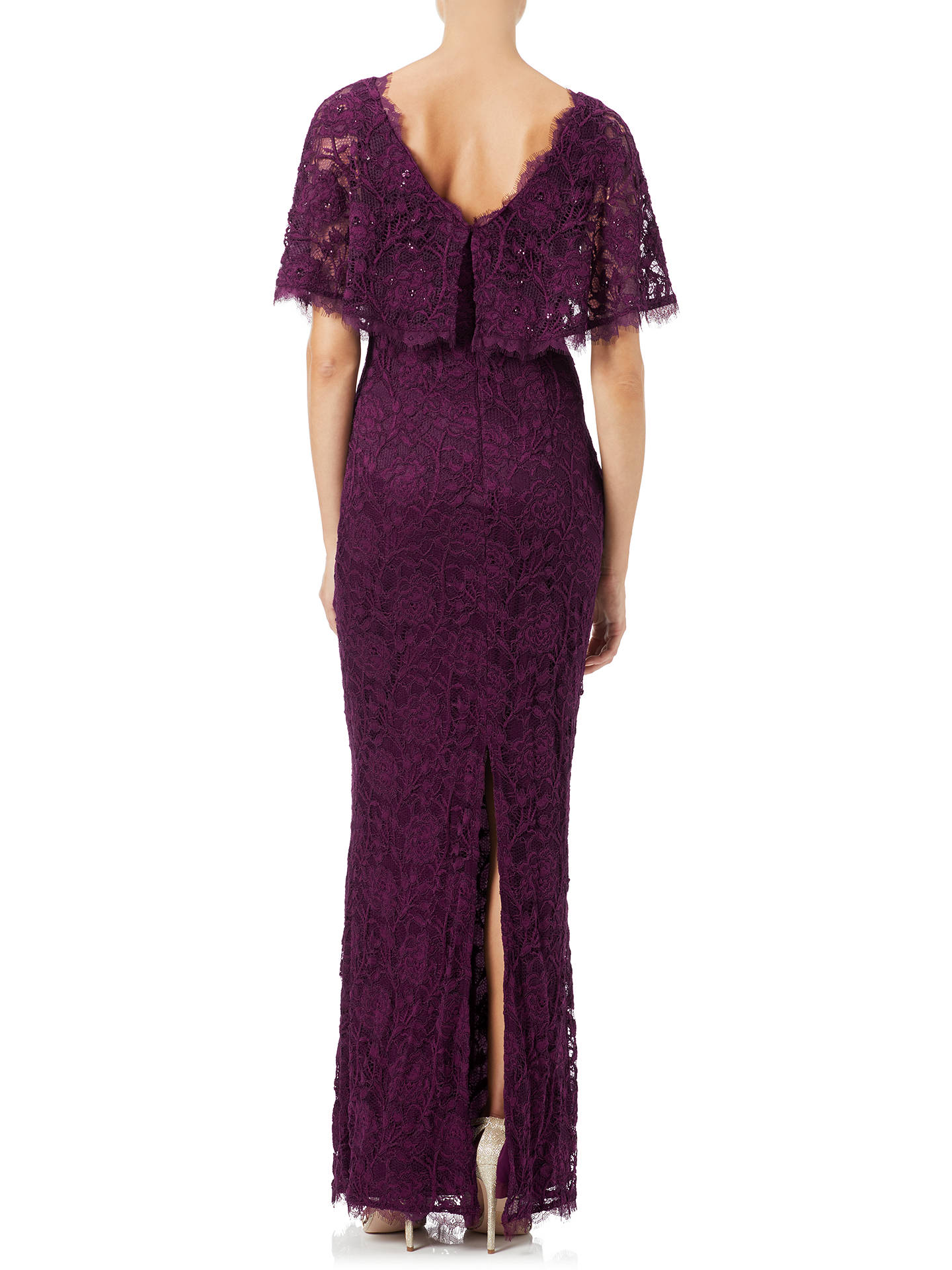 Buy Adrianna Papell Rose Lace Crepe Mermaid Gown, Mulberry, 8 Online at johnlewis.com