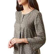 Buy Hobbs Isla Blouse, Khaki/Multi Online at johnlewis.com