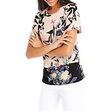Buy Oasis Tilda Placement T-Shirt, Pale Pink/Multi Online at johnlewis.com
