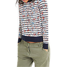 Buy Oasis Printed Stripe Knitted Jumper, White/Multi Online at johnlewis.com