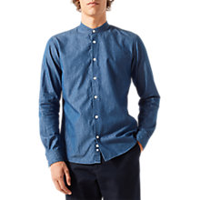 Buy Jigsaw Grandad Collar Shirt, Indigo Online at johnlewis.com