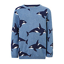 Buy John Lewis Boys' Whale Cotton Knitted Jumper, Blue Online at johnlewis.com