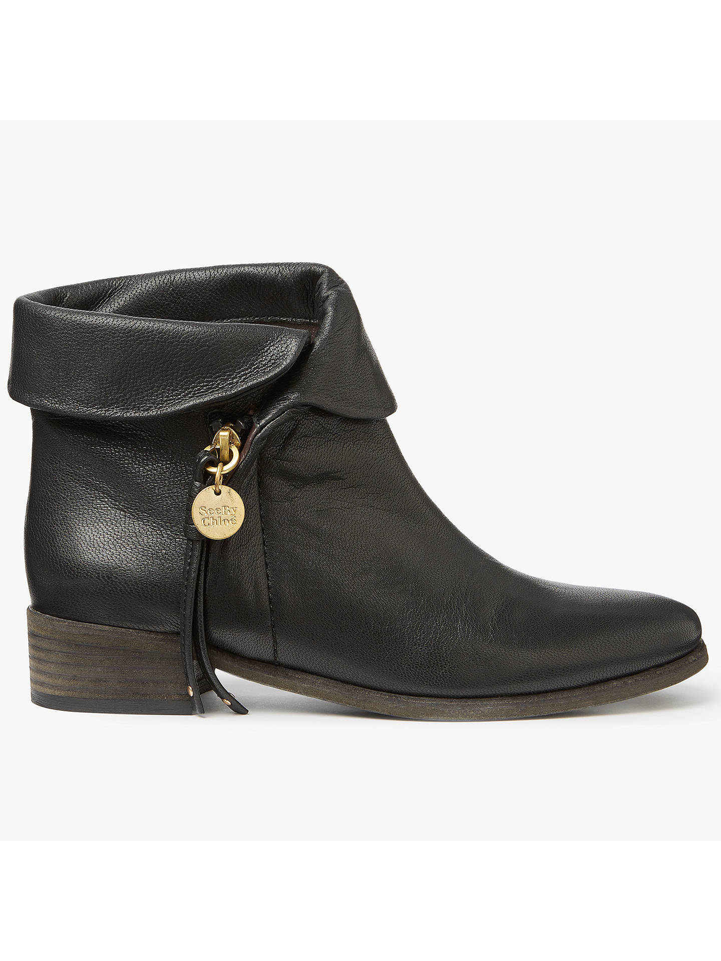 6191fb609f3 See by Chloé Masha Lapel Ankle Boots, Black at John Lewis & Partners