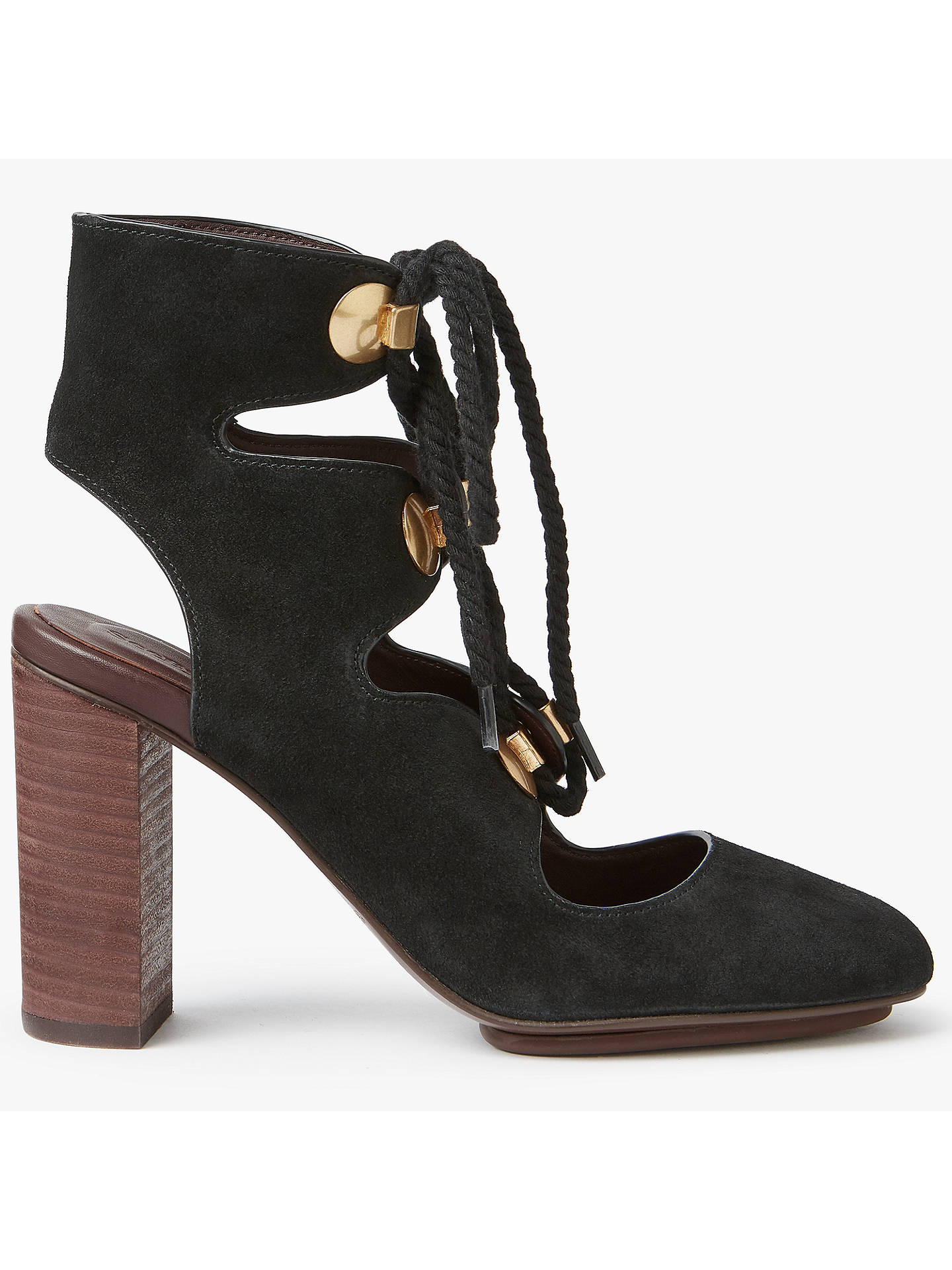 421c9991d Buy See by Chloé Edna Lace Up Block Heeled Court Shoes, Black, 4 Online ...