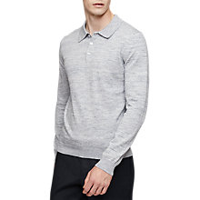 Buy Reiss Crown Flecked Wool Long Sleeve Polo Shirt, Blue Melange Online at johnlewis.com