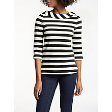 Buy Boden Sarah Ponte Striped Top, Navy/Ivory Online at johnlewis.com