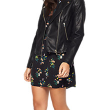 Buy Miss Selfridge Debbie Faux Leather Biker Jacket, Black Online at johnlewis.com