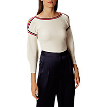 Buy Karen Millen KB026 Deconstructed Cold Shoulder Jumper, Ivory/Berry Online at johnlewis.com