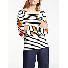 Buy Boden Make A Statement Floral Breton Top, Ivory/Black Bloom Online at johnlewis.com